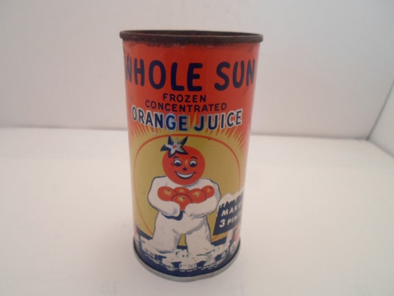 Vintage Whole Sun Frozen Orange Juice Tin Can Original 1950's Mid Century Rare Find Soda Pop can size Advertising or Re Purpose cool