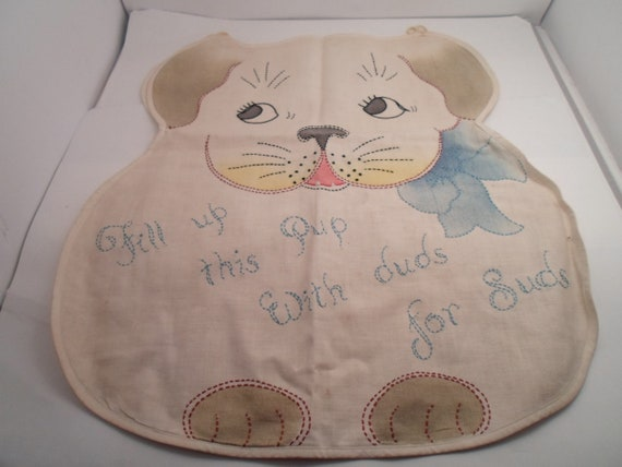 Art Deco Antique Original Puppy Dog Laundry Bag Beautiful Handwork Fill up this Pup with Duds for Suds Absolutely the cutest one of a kind