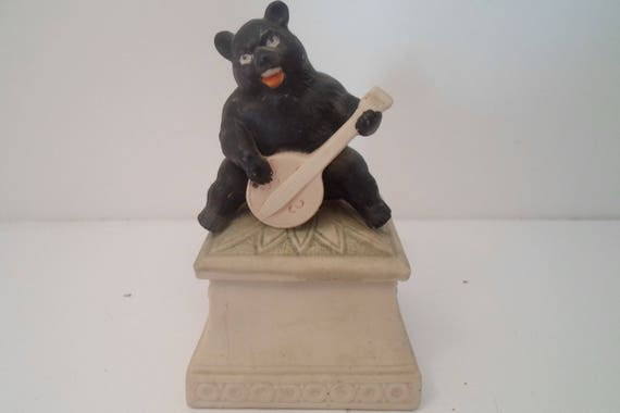 Antique Victorian Black Forest Style Bear playing Banjo Bisque Trinket Box Hand Painted Rare item