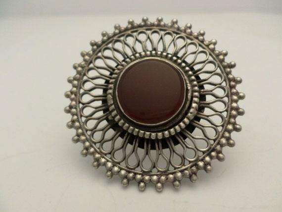 Fabulous! Vintage Sterling Silver Carnelian ring size 7.5 kaleidoscope design 70's