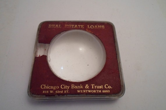 Antique Chicago City Bank Trust Co Advertising Desk paper weight Magnifying Glass Chic Office Desk Art Deco era