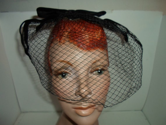 Mid Century Net Black Velvet Spider Bow Hat Head Covering Union Label USA