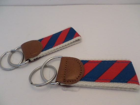 New canvas strap keychains red and blue stripes, long zig zags or bowties