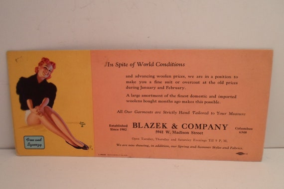 Vintage Earl Moran Advertising Ink Blotter Pin Up Girl Free and Squeezy In Spite of World Conditions Custom Tailoring
