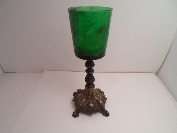 Vintage Cast Metal Brass Shaded Textured Green Glass Votive Gothic Altar Shrine Candle Holder