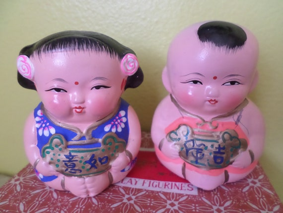 Vintage new old stock in box WUXI clay figures Boy & Girl