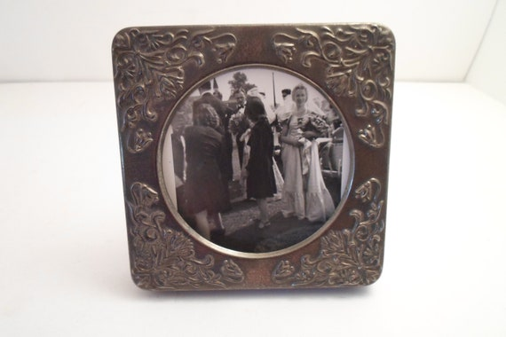"Vintage Silver Plate Metal Embossed Art Nouveau Style Picture Photo Frame Cottage Chic 4"" x 4"" Vanity cool"