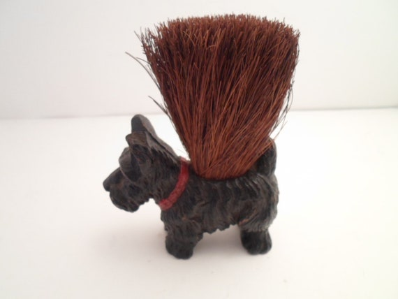Antique Art Deco Scottie Dog Carved Faux Wood Straw Wisk Brush Broom Dog Pets Puppy Original and Adorable Desk top cool