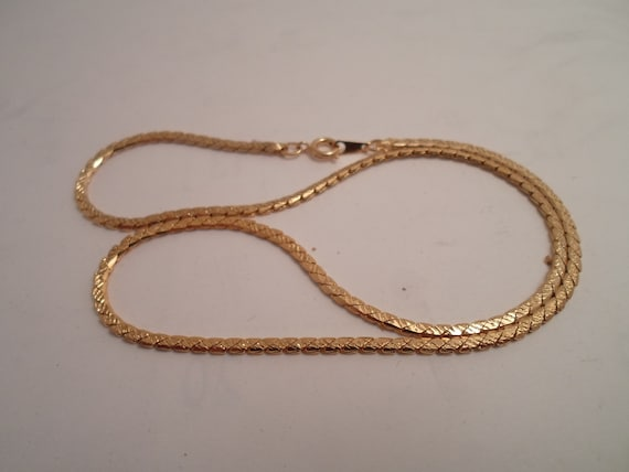 Vintage 1980's Gold Tone Textured Box Link Chain 17""