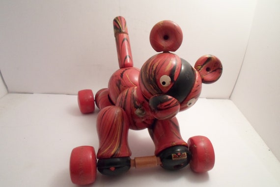 Mid Century Mod Hand Painted All Wood Pluto Italian Milano Dog on Wheels Signed  find Farm house Cottage Decor Adorable