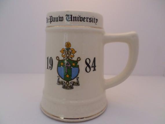 Vintage Collegiate De Pauw University MUG 1984 Susan Tau Eta Delta Fraternity Sorority fun 80's