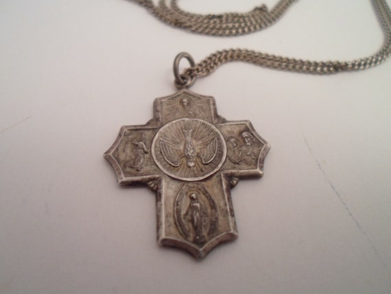 Vintage Sterling Silver Religious Medal and Chain Soldier's Medal I am a Catholic St. Christopher Immaculate Mary Sacred Heart Holy Spirit