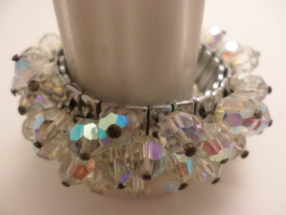 pretty faceted colorful auras on clear glass beaded braclet on strech band bracelet 50's