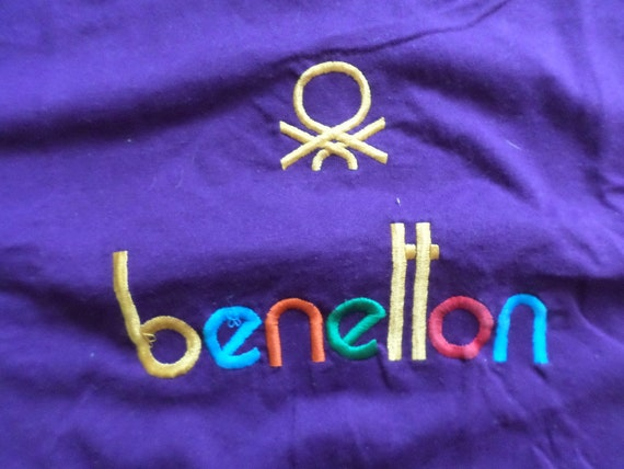 Vintage 80's Benetton embroiderded colorful t shirt size XL Made in the USA