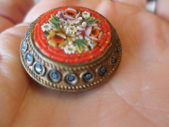 Antique Mosaic mille fiore pin brooch from Italy