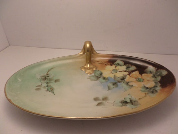 Antique Limoges France Hand painted Art Nouveau gold leaf yellow blossom flowers tray