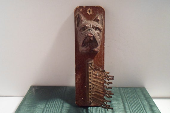 Vintage Antique Art Deco Bull Dog Tie Rack Holder Wall Hanger Good for Scarves Use or Re Purpose Dog Lover Puppy Boster Terrier French Bull