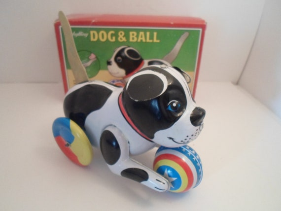 Vintage Tin Litho  Retro Dog and Ball Wind Up Toy Push Down Tail