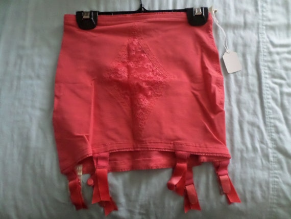 Vintage 50's coral garter girdle, lingerie, Vanity Fair SAMPLE #51-5 on tag RARE