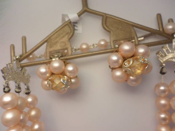 New old Riviera costume peach faux pearl & crystal necklace and clip earrings 1960's