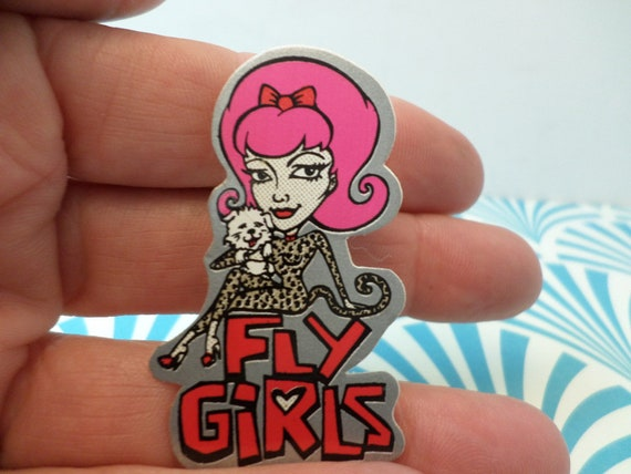 Vintage original 90's sticker Fly Girls Black Flys sunglasses leopard pink hair GLAM