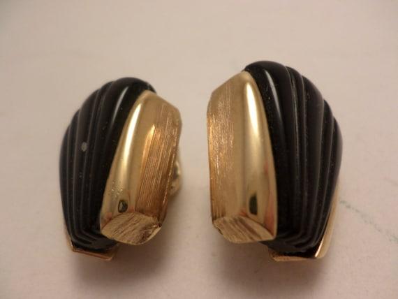 Vintage clip on earrings Napier 60's neo Deco black gold
