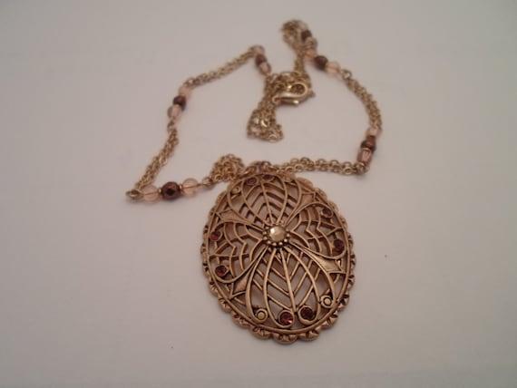 Vintage Necklace Pierced Webbed Goldtone Pendant Double Chain with Amber Beads Four Leaf Clover Flower Web Art Deco Design