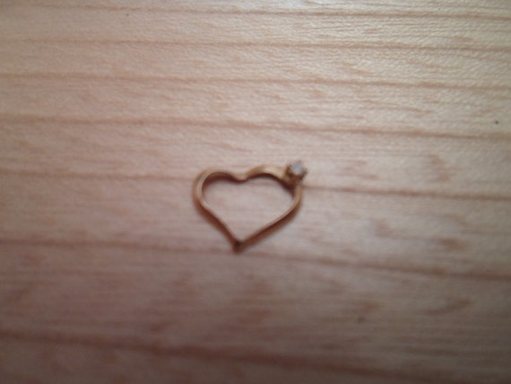 Vintage Mini Gold Diamond Floating Heart Pendant Charm Tiny Adorable One of a Kind Unusual