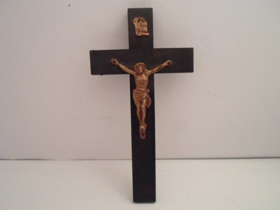 Antique Art Deco Wood Convent Cross Crucifix Catholic Christian Spiritual Sturdy Used Above the Bed INRI Gothic