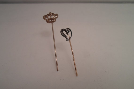 Vintage Antique Stick Pins 1 Tiny Victorian Heart with Seed Pears 1 Mini Crown As Found in Estate hat pins scarf pins
