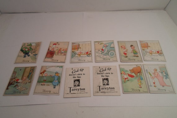 Art Deco Original 1930's Henry Tareyton 12 Cigarette Tobacco Cards Collector Dream Frameable Mini Cards Chic Advertising or decor