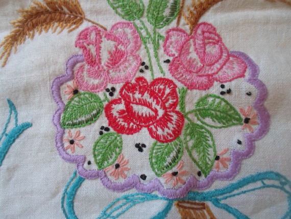 Art Deco Linen Embroidered Table Runner Dresser Scarf Ribbons Roses Thrushes of Wheat