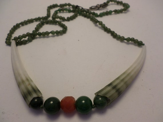 Vintage Dentalium shells with Jade and Carnelion necklace