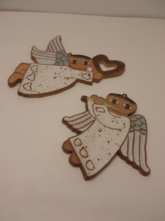 Vintage 70's stoneware cut out Angels from California Angel heart Christmas ornament