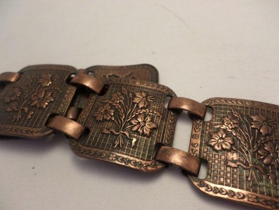 Beautiful vintage linked copper bracelet 50's floral bouquet