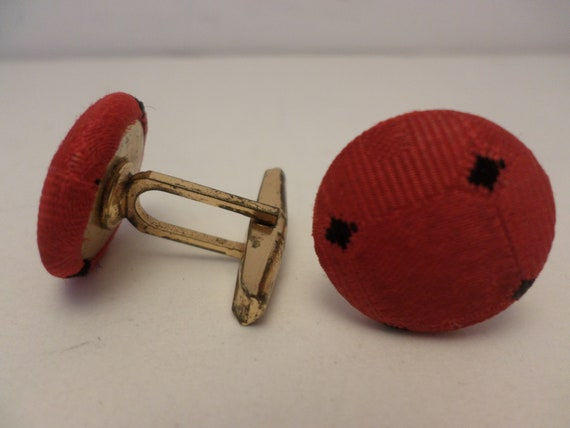 Vintage 50's cufflinks red with black dots cloth super cute!