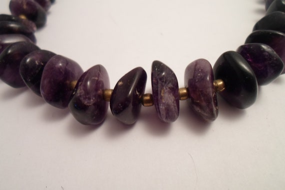 "Vintage Natural Amethyst Bead Necklace Violet Purple Various Shape Natural Stones Highly Polished 20"" necklace"