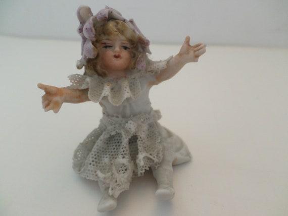 antique Victorian bisque delicate little girl figurine 2968 cross on legs marking