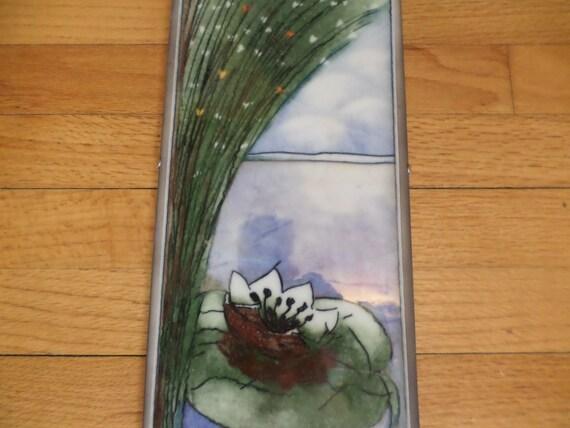 "Arabia Finland 7"" x17"" irridescent glaze tile lilly pad Heija Liukko-Sundstrom framed vintage"