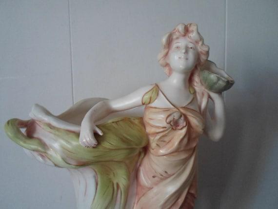 "Antique Monumental 19"" Art Nouveau Lady Vase Marked Beautiful Flowing Scant Tunic Wraps around Vase 8""wide 5""base Hand Painted Rare"