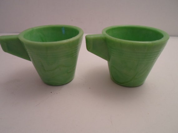 Art Deco Arko Agate2  Child or Doll Cups Original Green Collect or Re purpose Mini Cup Decorate Cottage Chic Not a Reproduction