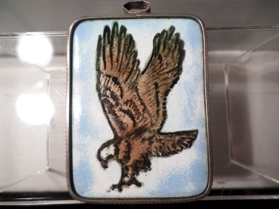 Man's hand painted enamel over copper EAGLE wrapped in Alpaca silver Pendant vintage 70's earth american bohemian