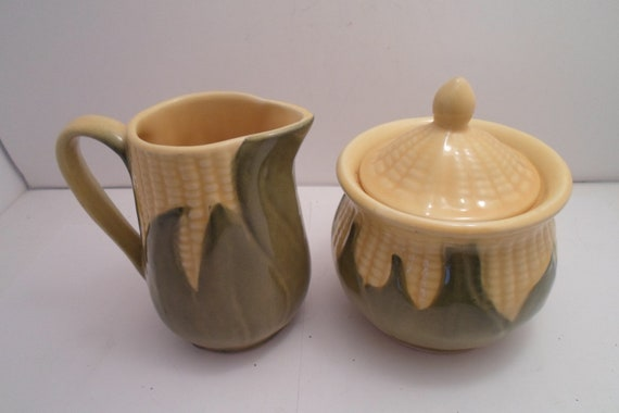 "Shawnee USA Corn King Pottery 5"" Creamer and Sugar with Lid Spotless Estate Not a Reproduction"