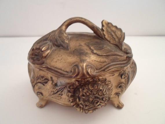 Antique Art Nouveau Original Jewelry Casket Box Cast Metal Flowers Leaves Foilage Mums Beautiful Patina Trinkets Earrings Vanity box
