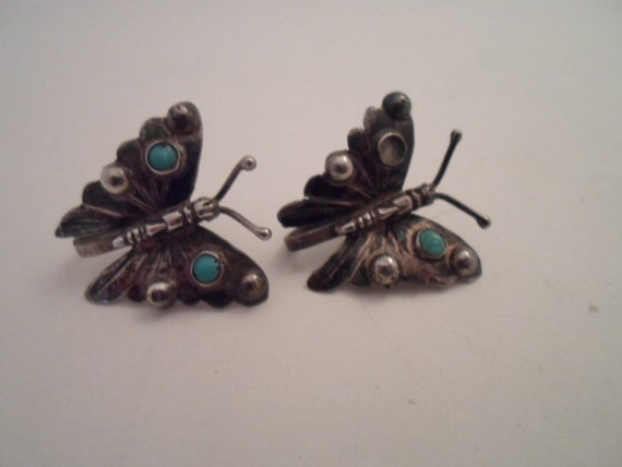 Antique Vintage Silver and Turquoise Butterflies Screw Back Earrings signed Silver Mexico Adorable Detailed Wings with Applied Stones as is