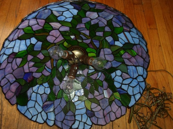 "Vintage Large Hyacinth Leaded Stained Glass Hanging Lamp Stunning Colors of the Hyacinth Flowers Very Good Condition 18"" across"