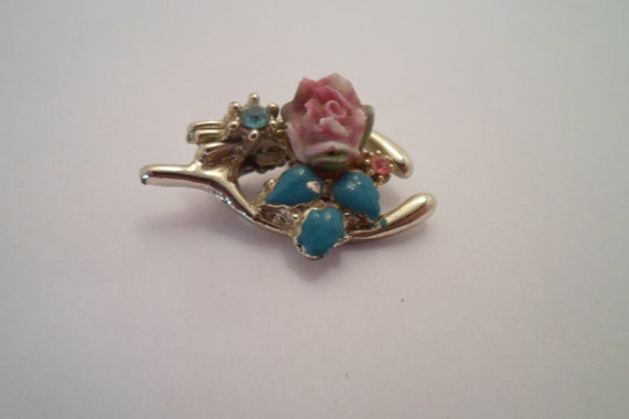 Vintage Antique Wishbone Rose Enamel Gold Tone Pin Brooch Good Luck Good Travel Congradulations Delicate gemstones hand painted