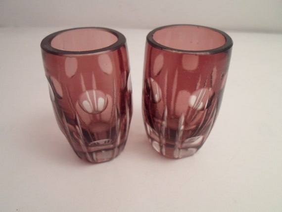 "Antique Barvarian Mini Blackberry color Crystal cut to Clear Small Sipping Liquor Glasses 2""tall 1""wide Whiskey Sherry Cordial"