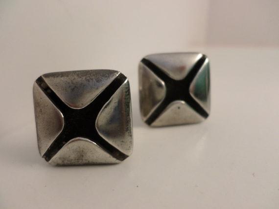 Vintage Sigi Taxco Silver cufflinks square Mid-Century Mod design