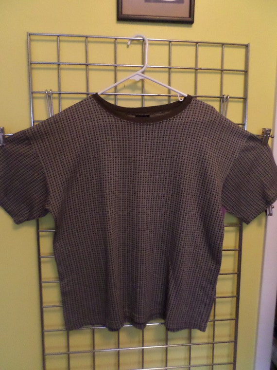 Vintage 90's Bugle Boy shirt retro 60s vibes brown grey M/L